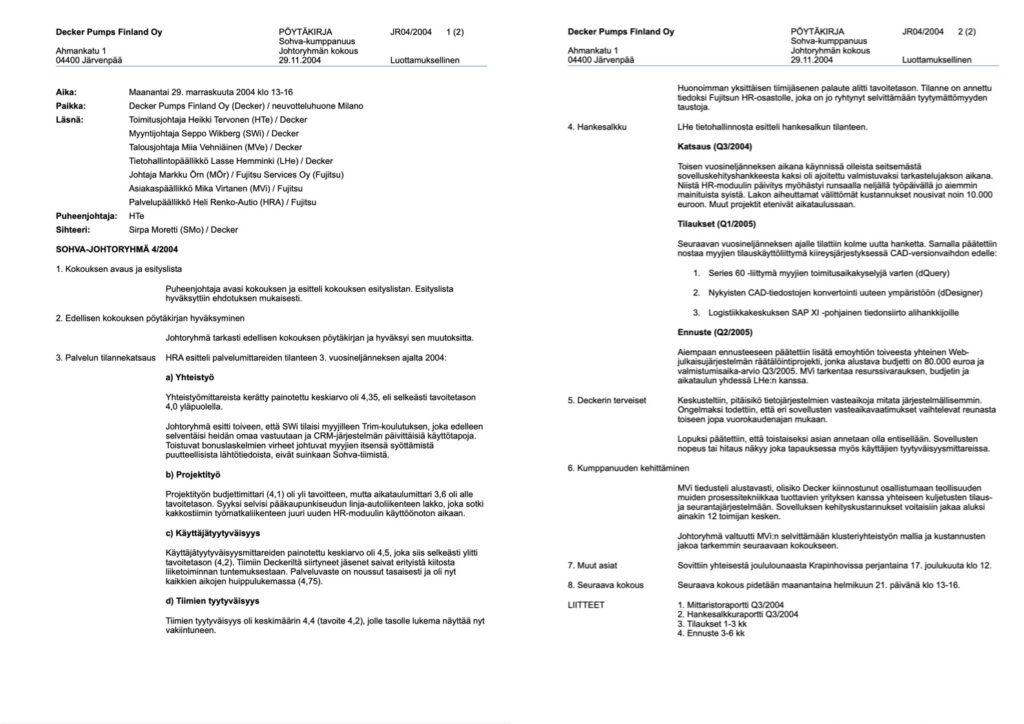 Decker Pumps Finland Oy:n Sohva-ohjausryhmän kokouksesta laadittu muistio näyttää tältä.