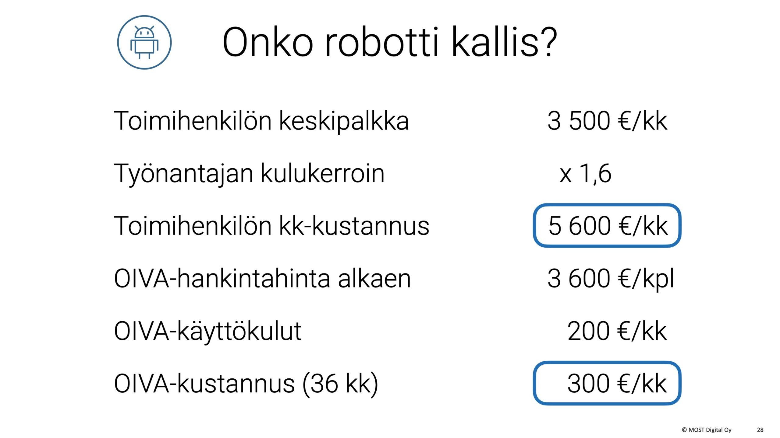 OIVA-ohjelmistorobotti, MYYNTIESITYS, osa 2, sivu 11: Tässä laskemme sekä keskihintaisen toimihenkilön että OIVA-robotin kuukausikustannuksen.