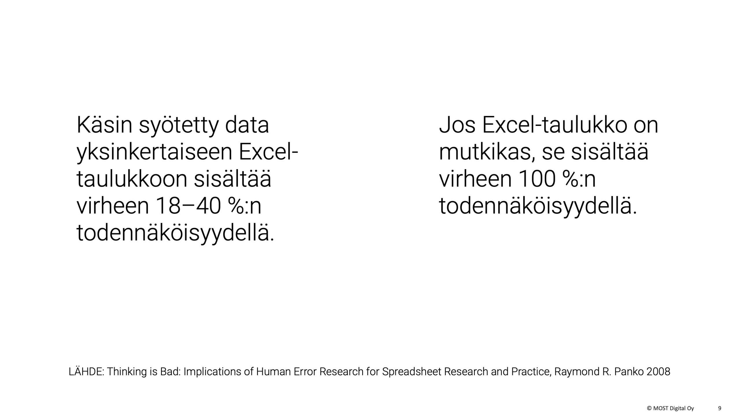 OIVA-ohjelmistorobotti, MYYNTISESITYS, osa 1, sivu 8: Tutkimuksen mukaan yksinkertaiseenkin Excel-taulukkoon tulee virheitä 18–40 % todennäköisyydellä. Mutkikkaaseen tulee vähintään yksi virhe väkisinkin.