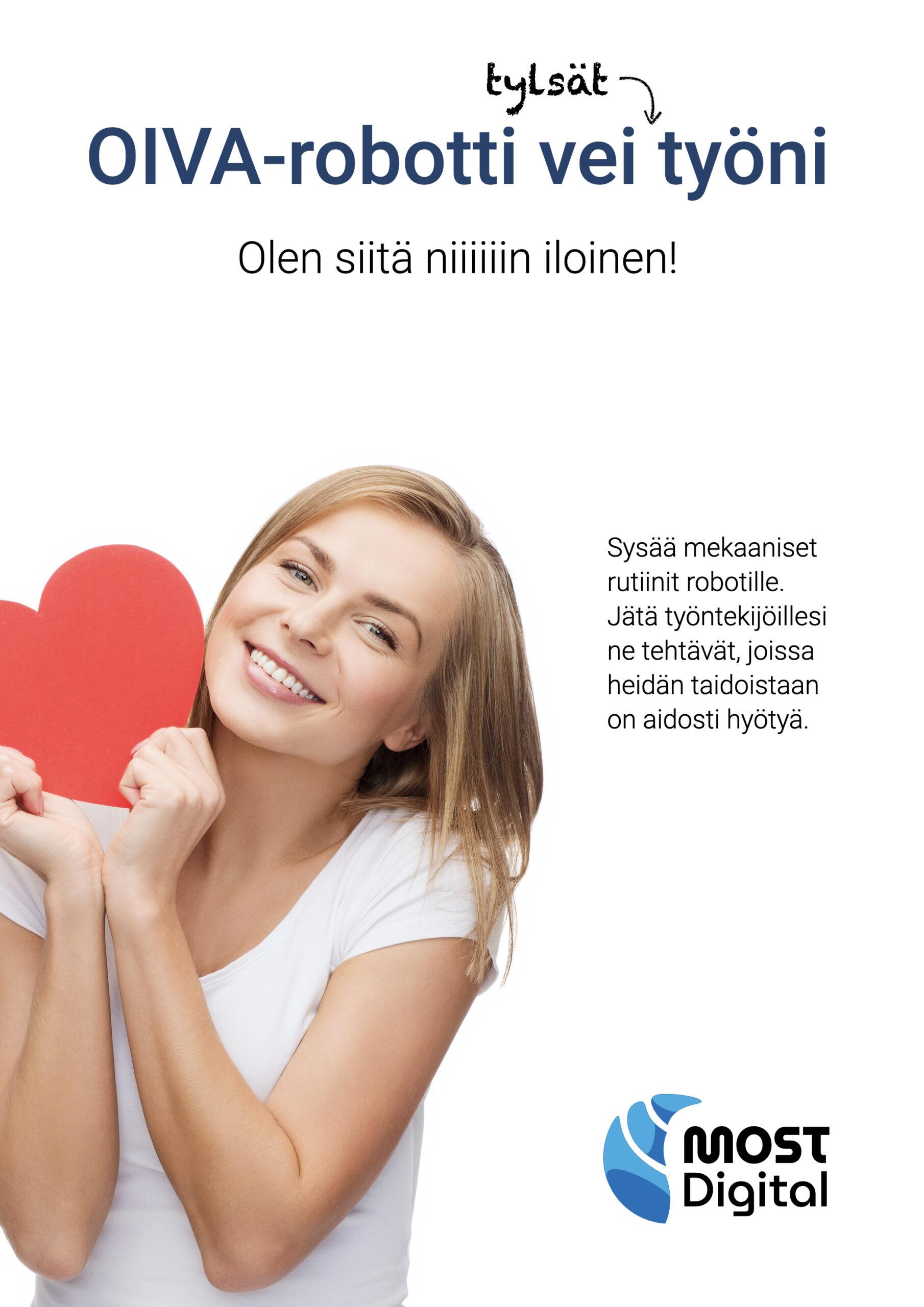 OIVA-ohjelmistorobotti, ESITE, sivu 1/4: Esitteen etusivulla toistuu mainoksen teema.