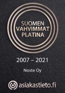 Noste Oy on kuulunut Suomen vahvimpiin yrityksiin vuodesta 2007 saakka.